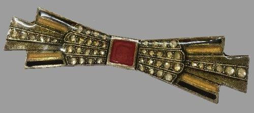 1970s bow brooch. Jewelry alloy, crystals, enamel, polymer. 7 cm