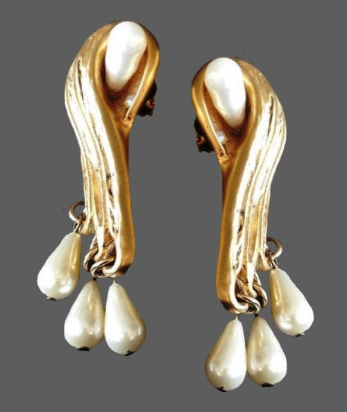 Abstract design gold tone faux pearl earrings