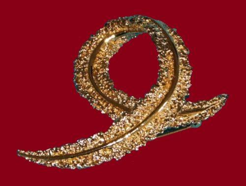 Abstract design gold tone rhinestones brooch