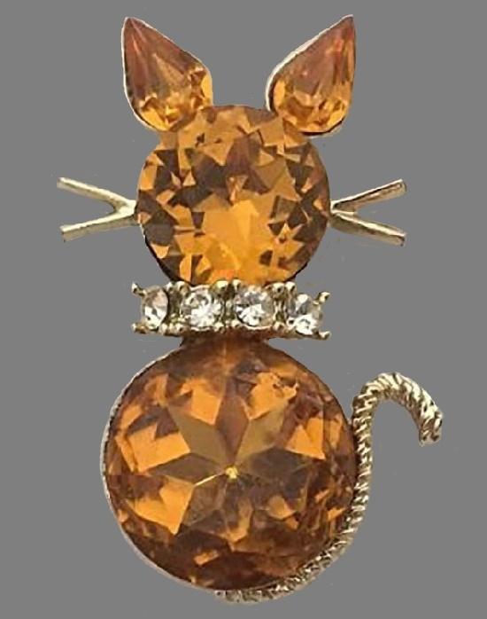Amber tone crystal rhinestones gold tone cat brooch