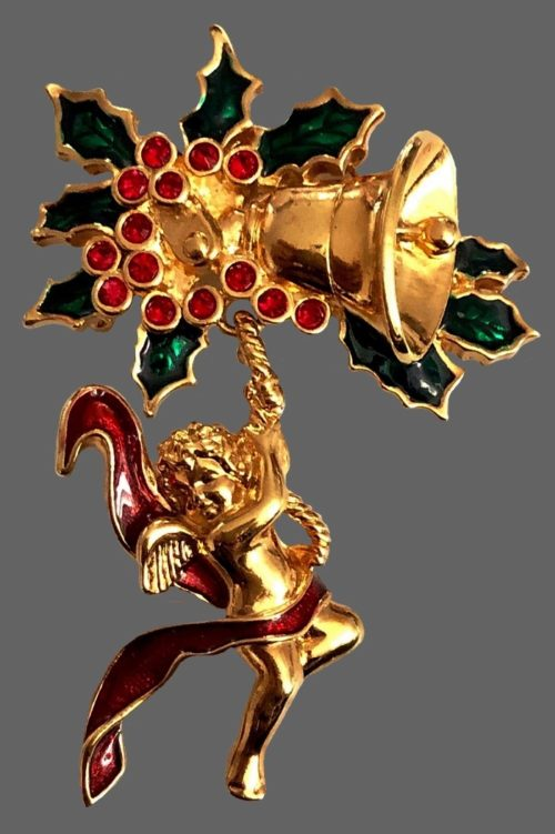 Angel Christmas brooch. Gold tone jewelry alloy, enamel