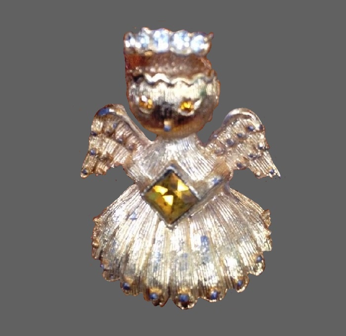 Angel silver tone square crystal brooch