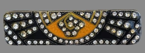 Art Deco style brooch. Jewelry alloy, crystals, enamel. 5 cm