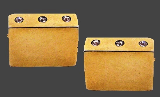 Bar gold tone rhinestone inserts vintage cufflinks