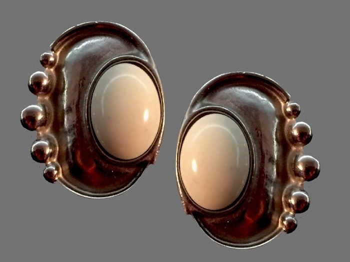 Beige cabochons copper tone earrings. 1997