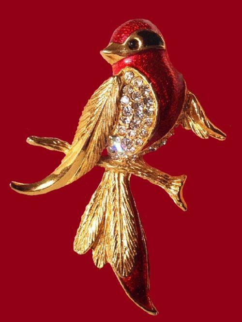 Bird brooch. 18 K Gold plated, crystals, enamel. 1980s