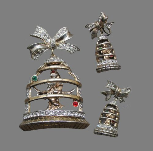 Bird in a cage set of brooch and earrings. Book-piece, 1947. 925 Sterling silver, gilding, rhinestones, vermeil. Brooch 6.7 cm, earrings 3.6 cm