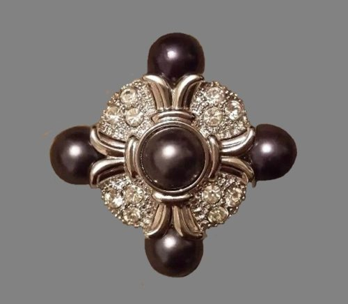 Black faux pearl brooch, crystals, silver tone metal