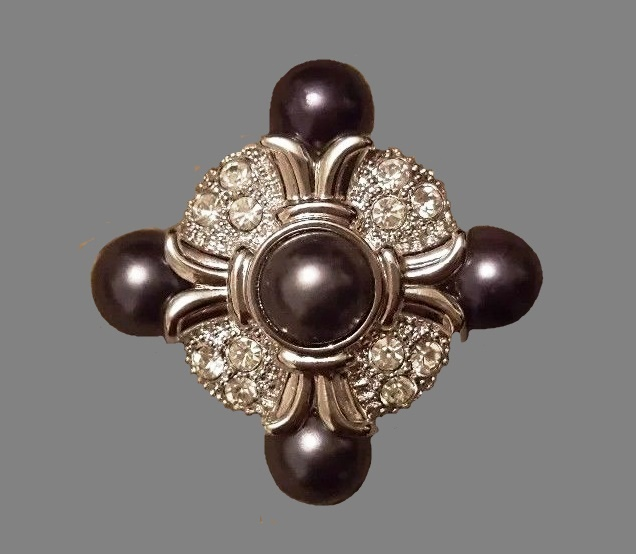 Black faux pearl brooch, crystals, silver tone metal