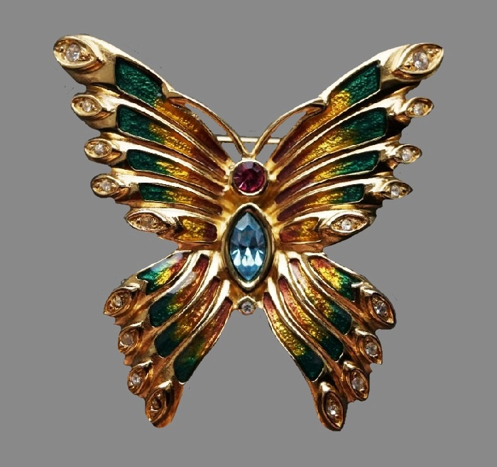 Bob Mackie enameled butterfly brooch. 4.8 cm