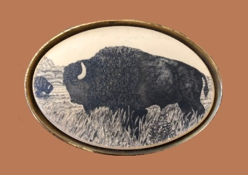 Buffalo brass buckle