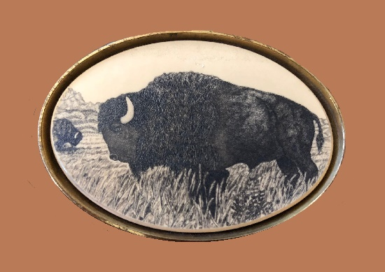 Buffalo brass buckle
