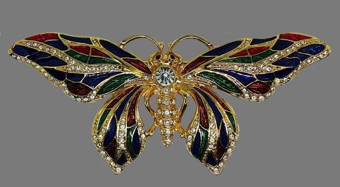 Camrose & Kross vintage butterfly enameled brooch