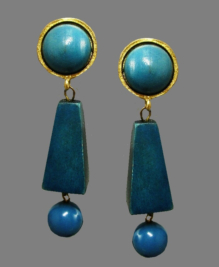 Carol Dauplaise teal green wood dangling earrings