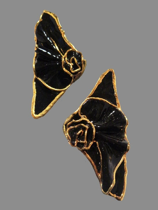 Ceramic gold tone edges black enamel earrings. 1988