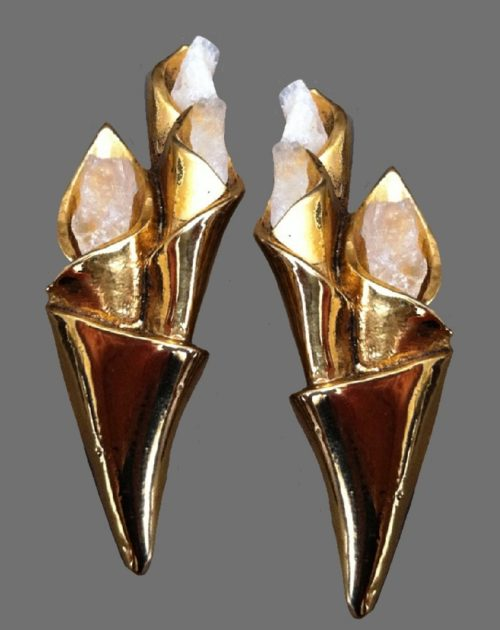 Claude Montana for Claire Deve gold tone floral design earrings