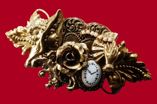 Clock and flower Art Deco style hair barrette. Brass tone metal, 1994