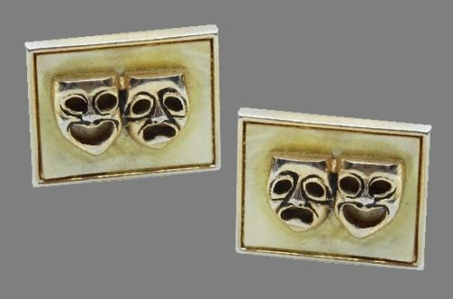 Comedy and tragedy theatrical masks cufflinks