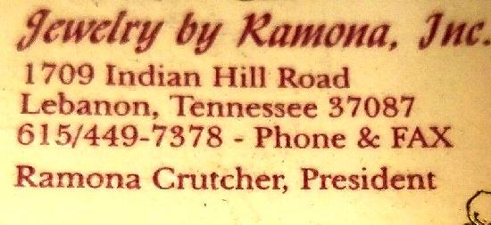 Contact Ramona jewelry