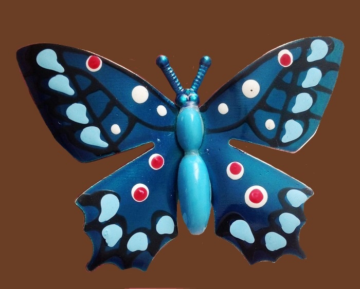 Czech vintage enameled butterfly brooch