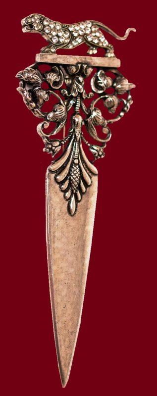 Dagger brooch in art deco style. Silver, multicolor rhinestones. 10.5 cm
