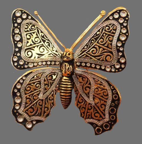 Damascene gold filled vintage butterfly brooch. Faux pearls, enamels