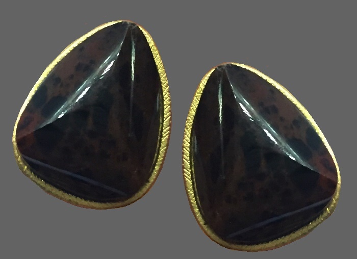 Dark brown glass cabochon runaway earrings of triangle shape