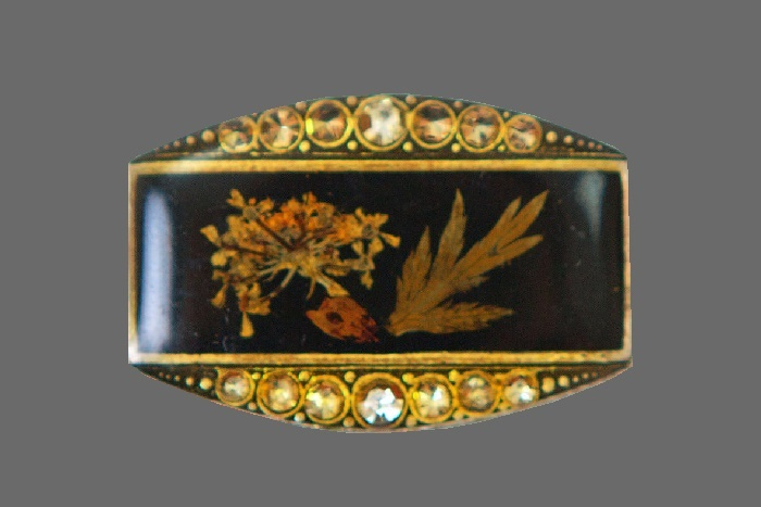 Dried flowers brooch. jewelry alloy, rhinestones, lacquer, enamel. 3.5 cm