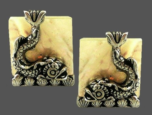 Exotic fish and shells cufflinks. 1950s
