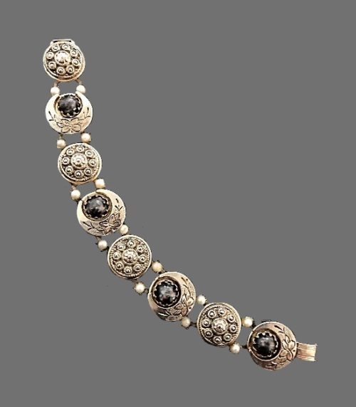 Exquisite silver tone textured metal bracelet, faux pearls, cabochons