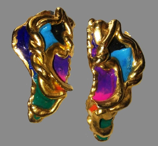 Fantasy design clip on earrings. 24K gold plated hand sculpted clay enamel. Vintage, 1988