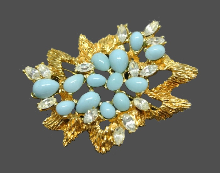 Faux turquoise cabochon floral design brooch. 1960s