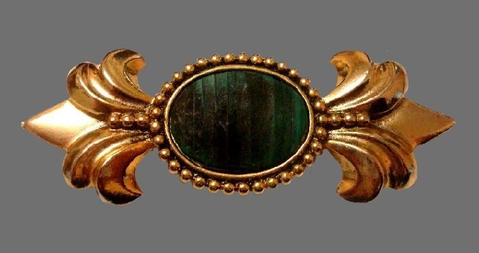 Fleur de liz 1980s vintage brooch. Matte gold tone jewelery alloy, cabochons. 10 cm