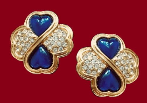 Floral design earrings. Jewelry alloy, rhinestones, blue glass cabochons