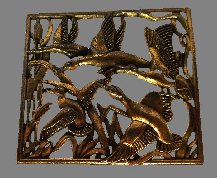 Flying ducks Art Deco brooch of square shape