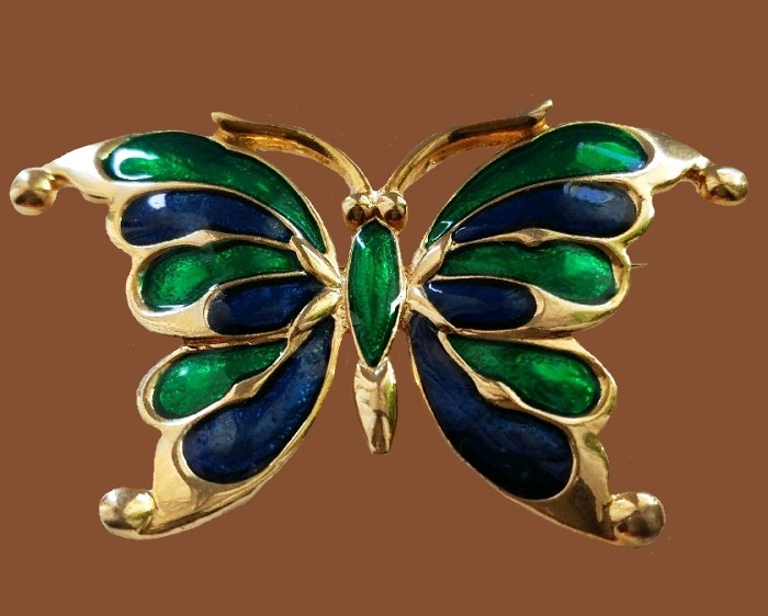 French vintage butterfly enameled brooch