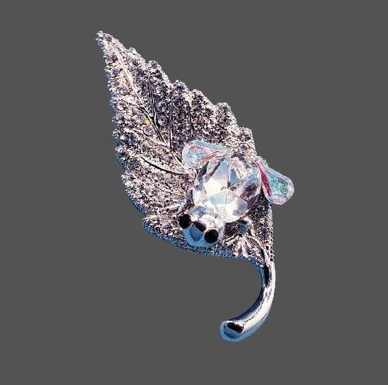 Frog on a leaf vintage brooch. Silver tone, pave rhinestones, crystal