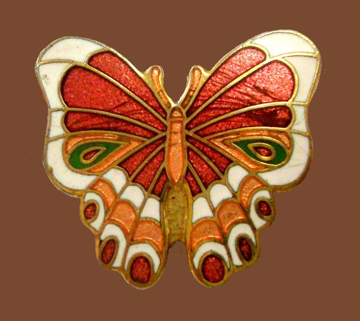 Gift Creations enameled butterfly brooch. 1980s.
