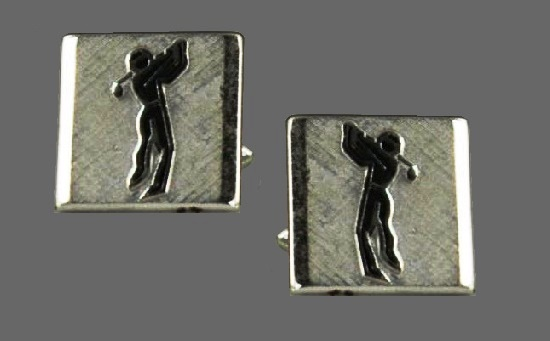 Golf player silver tone cufflinks