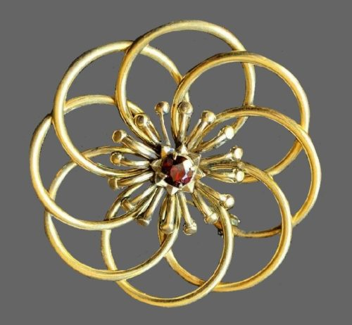 Gold tone circles brooch. Sterling silver, 14 K gold filled