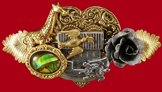 Gorgeous hair barrette with Heart, rose flower, giraffe, Ship, feathers, and abalone cab design