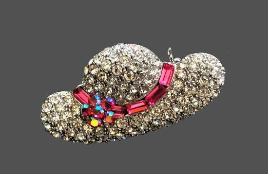 Hat brooch. Pave rhinestones, rose baguette crystals, Aurora borealis crystals