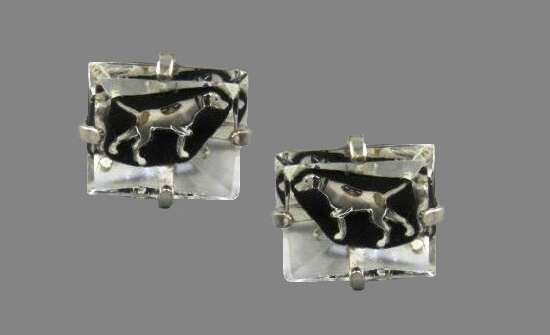 Hunting dog painted under chuncky glass vintage cufflinks