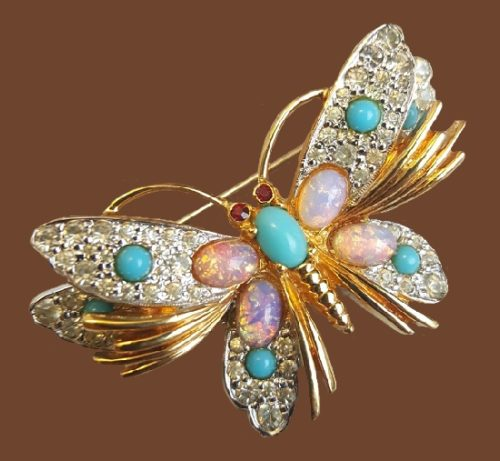 Jomaz vintage butterfly brooch. Opal glass, rhinestones, glass cabochons