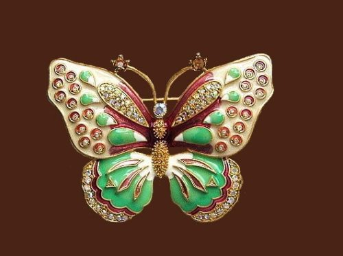 KJL butterfly brooch. 8 cm. Enamel, crystals, jewelry alloy