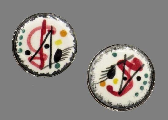 Kandinsky inspired porcelain handpainted round cufflinks