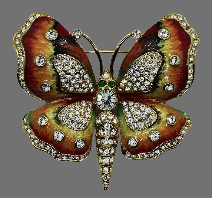 Kenneth lay lane vintage butterfly brooch. Enamels, crystals