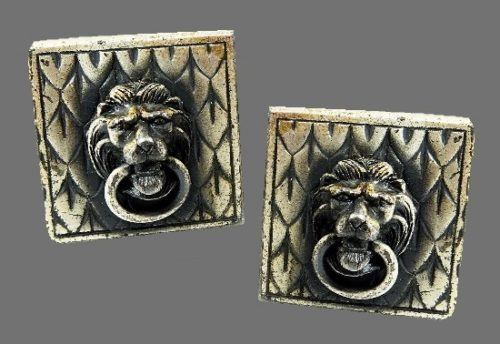 Lion door knocker vintage cufflinks