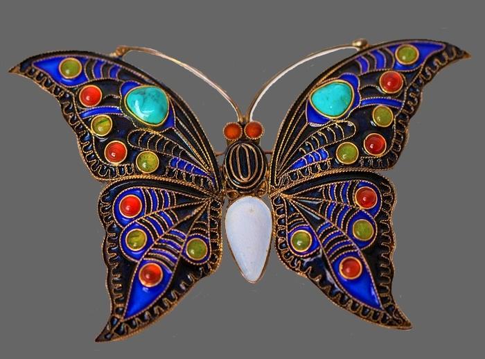 MMA vintage butterfly brooch. Sterling silver, jade, turquoise, carnelian, mother of pearl, enamel. 7 cm,
