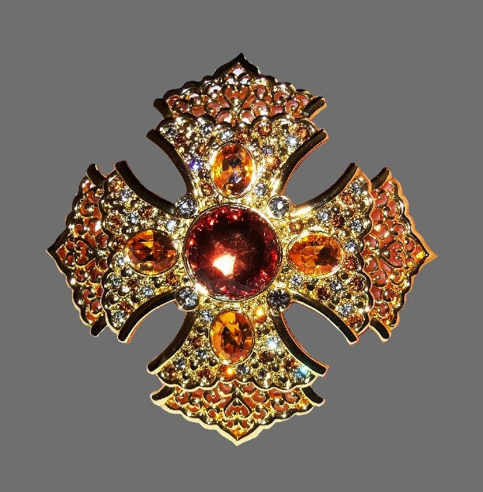 Maltese Cross brooch-pendant. Gold Tone metal, rhinestones